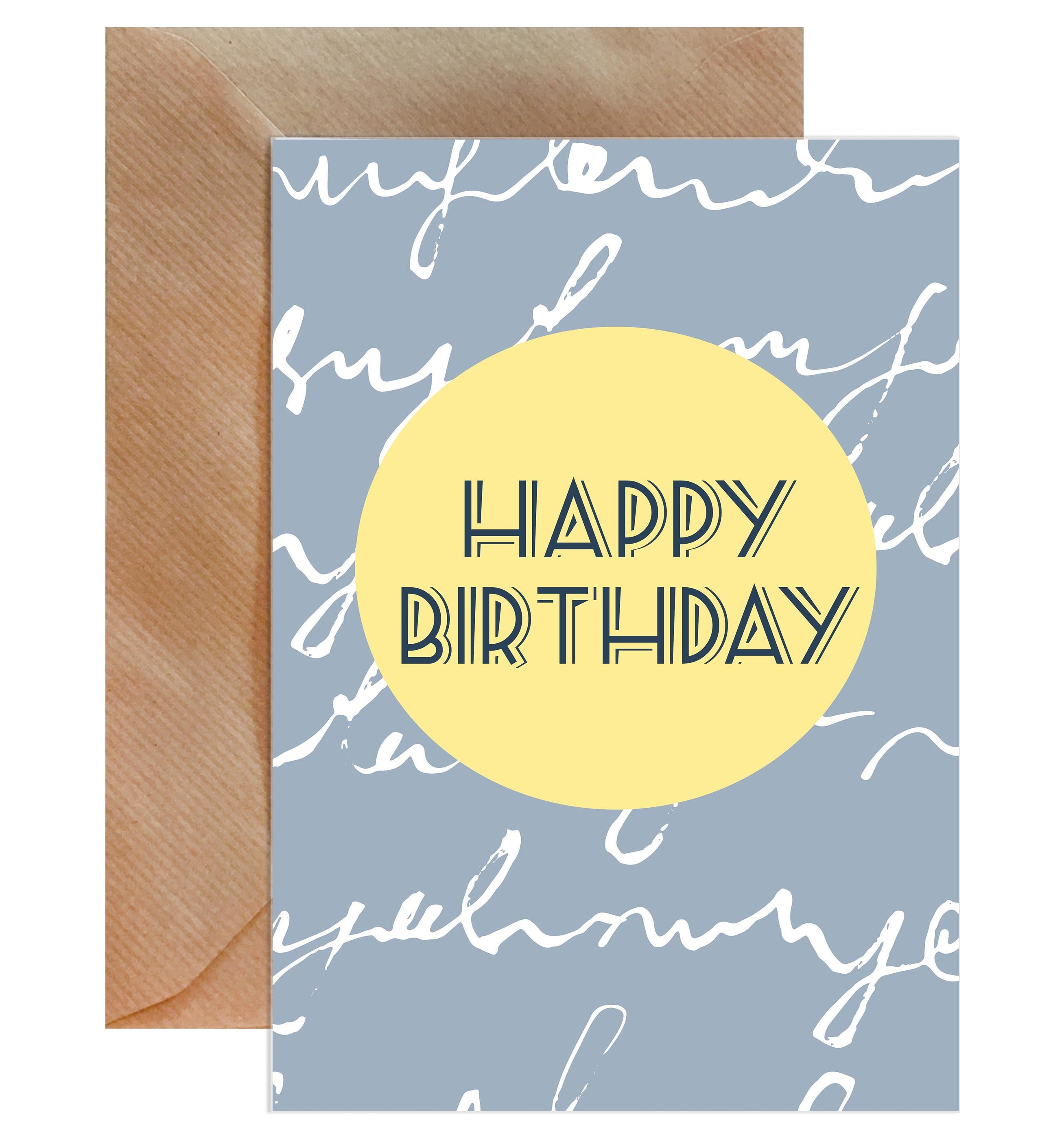 Happy Birthday Grey Script On Lemon Card-Greeting Cards-Mode Prints