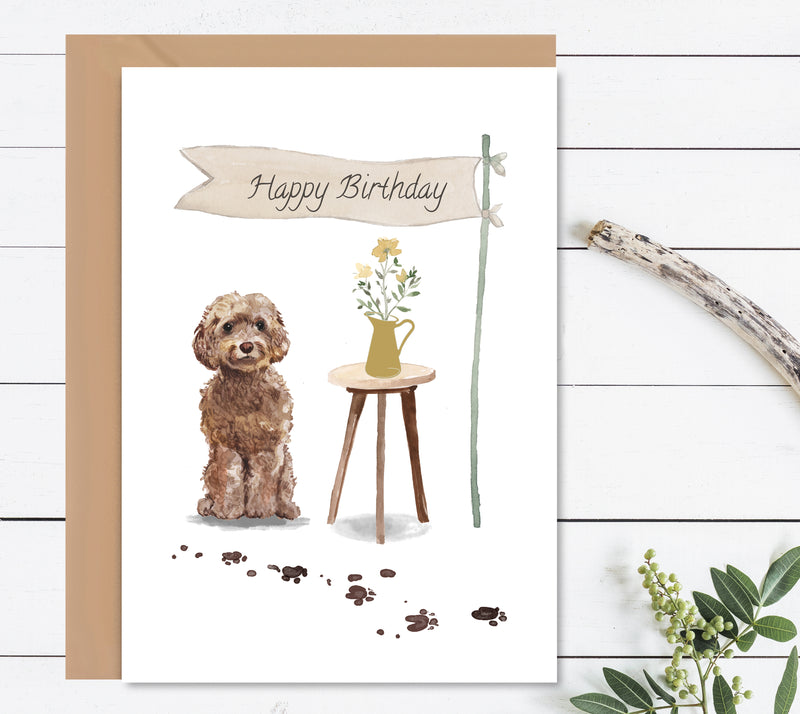 Cockapoo Dog Birthday Card - Mode Prints