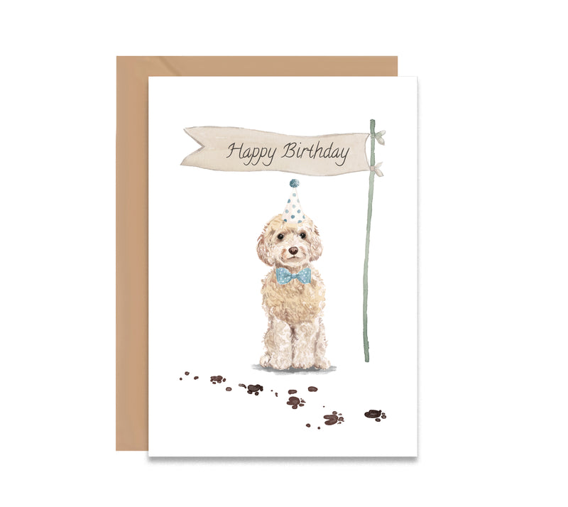 Cockapoo Dog Party Hat Birthday Card - Mode Prints