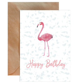 Happy Birthday Flamingo Card - Mode Prints