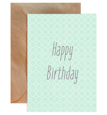Happy Birthday Green Pattern Card-Greeting Cards-Mode Prints