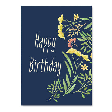 Happy Birthday Floral Illustration Card-Greeting Cards-Mode Prints