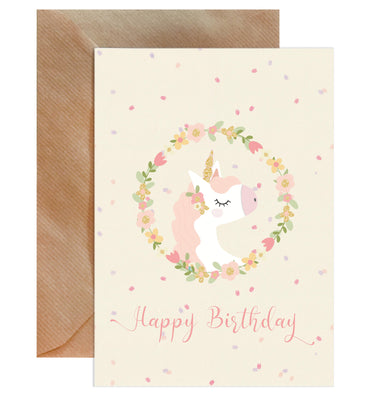 Happy Birthday Pink Unicorn Card-Greeting Cards-Mode Prints