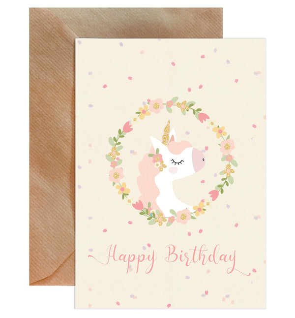 Happy Birthday Pink Unicorn Card - Mode Prints