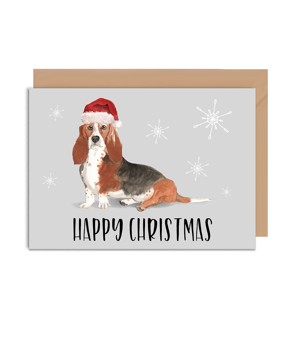 Basset Hound Dog Christmas Greeting Card