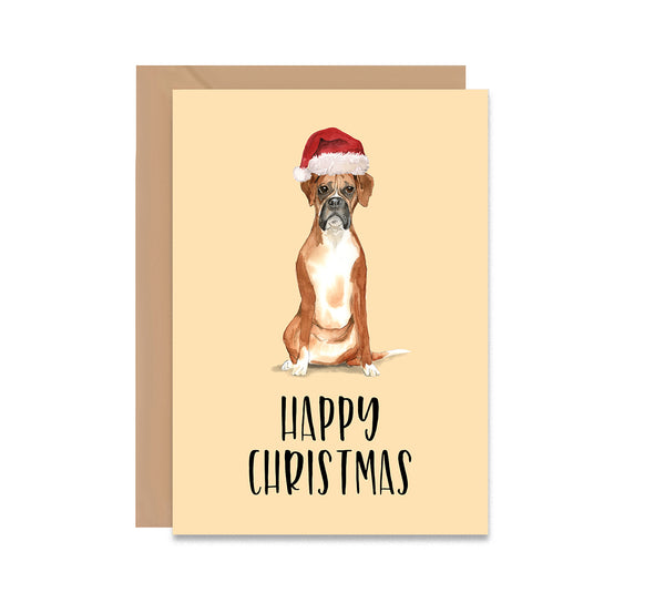 Boxer Dog Christmas Greeting Card - Mode Prints