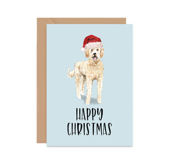 Golden Doodle Dog Christmas Greeting Card