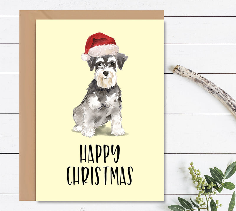 Miniature Schnauzer Dog Christmas Greeting Card - Mode Prints