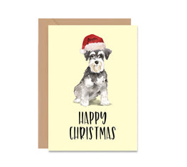 Miniature Schnauzer Dog Christmas Greeting Card