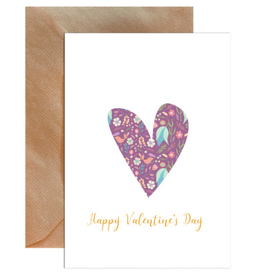 Happy Valentine's Day Heart Pattern Greeting Card-Greeting Cards-Mode Prints