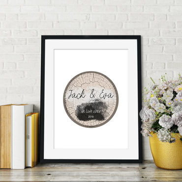 Personalised Tree Stump Love Poster Print