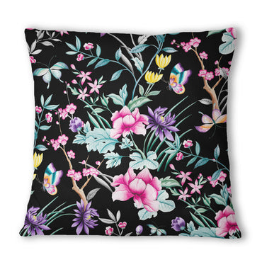 Japanese Leaf Black Cushion