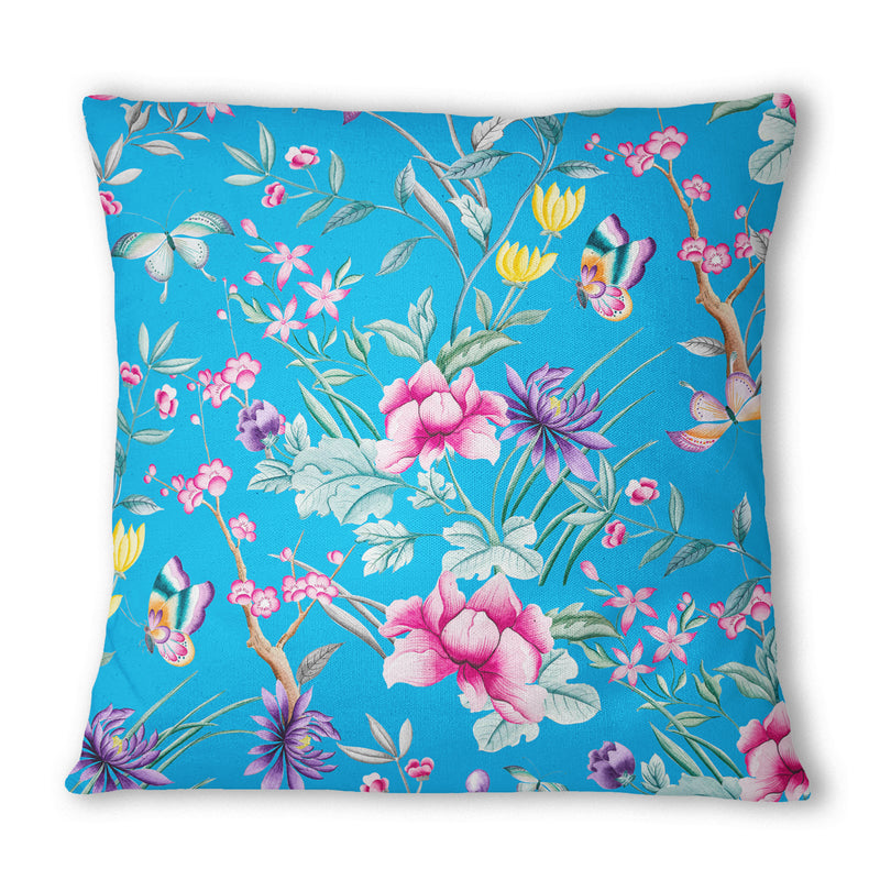 Japanese Leaf Blue Cushion - Mode Prints