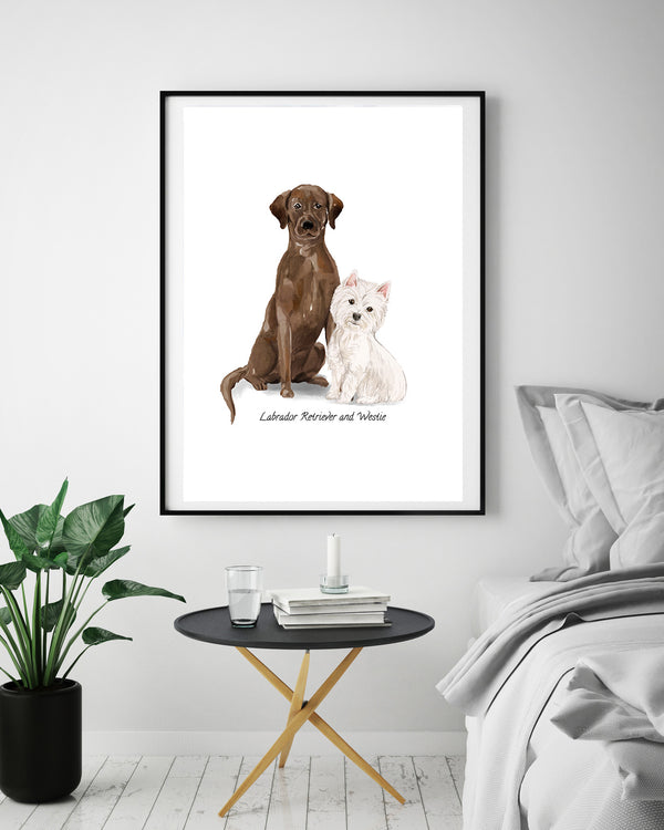 Labrador Retriever & Westie Dog Print - Mode Prints