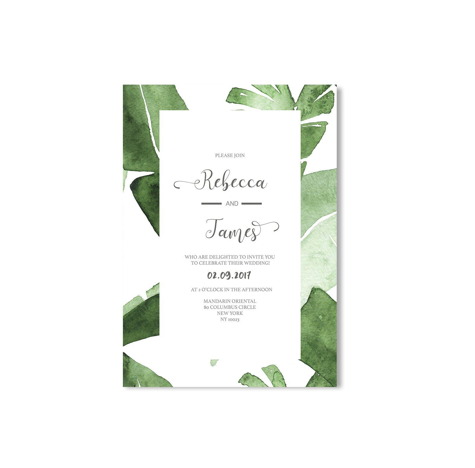Leaves Wedding Invitation-Wedding Stationary-Mode Prints