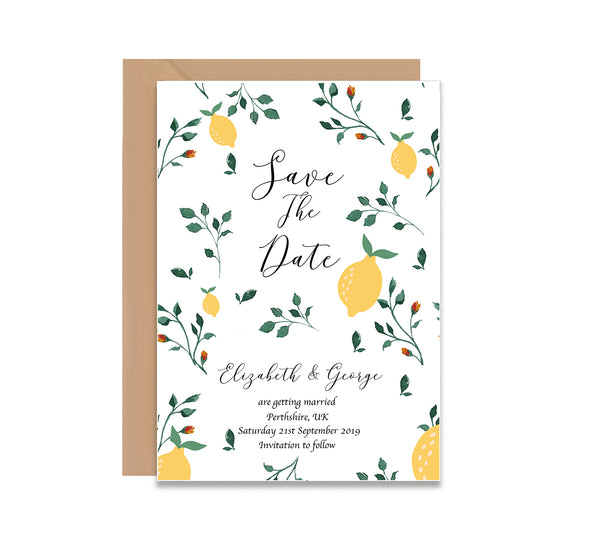 Lemon Tree Save The Dates Wedding Card - Mode Prints