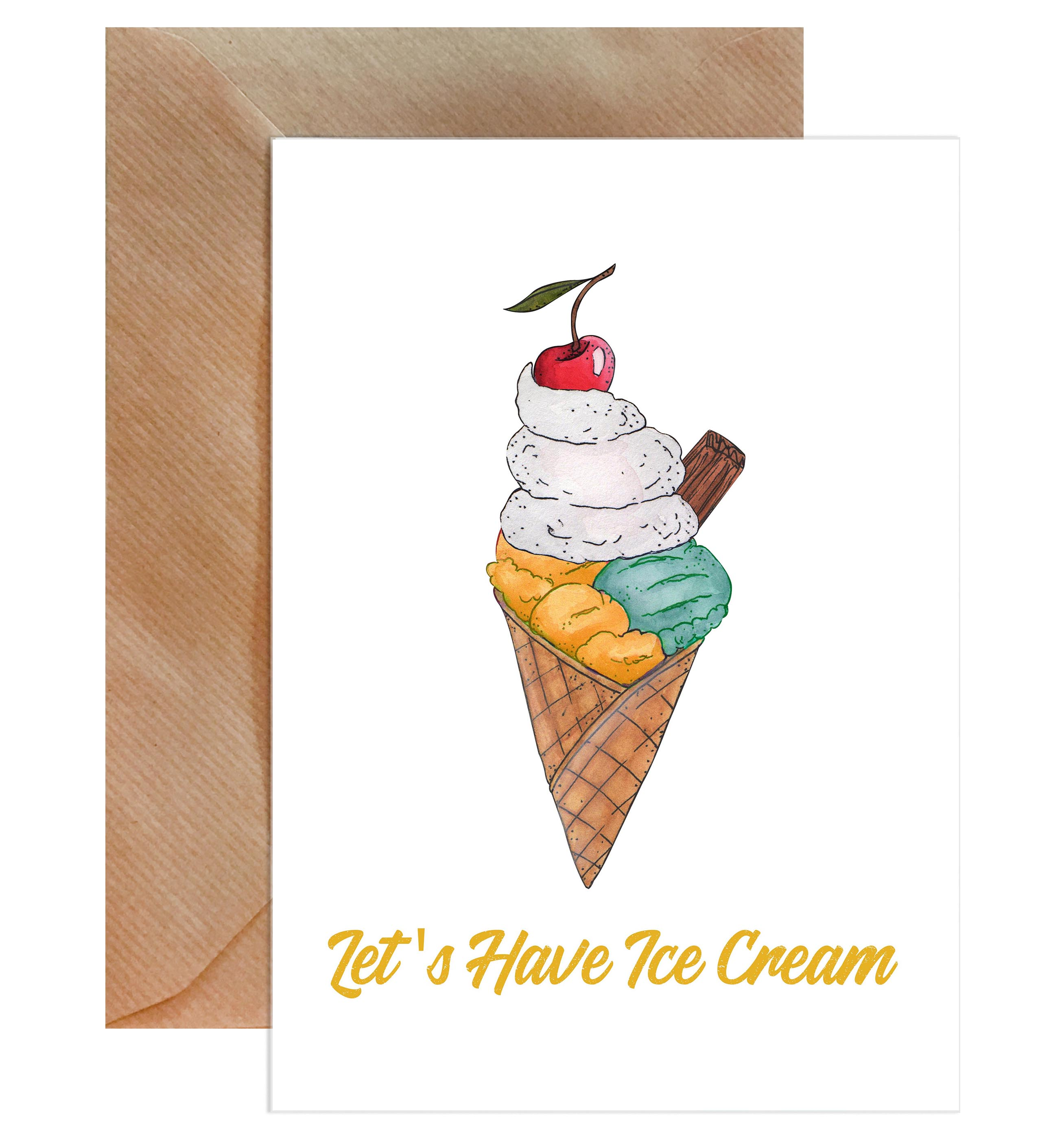 Let's Have Ice Cream Greeting Card-Greeting Cards-Mode Prints