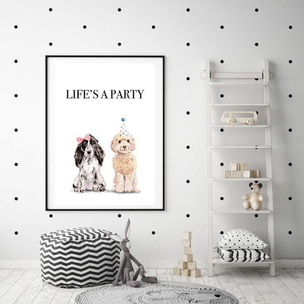 Life's A Party Dog Print - Mode Prints