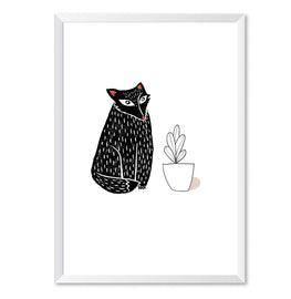 Linocut Fox And Potted Plant Illustration Poster Print-Print-Mode Prints