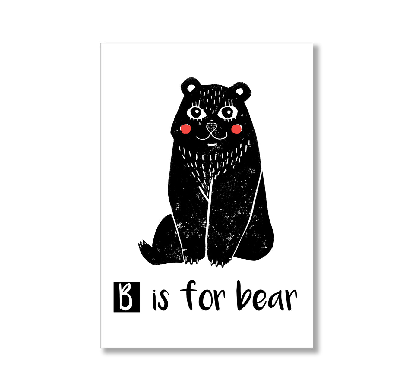 Linocut B Is For Bear Poster Print-Print-Mode Prints