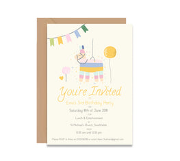 Llama Piñata Children's Birthday Invitation Set-Invitations-Mode Prints