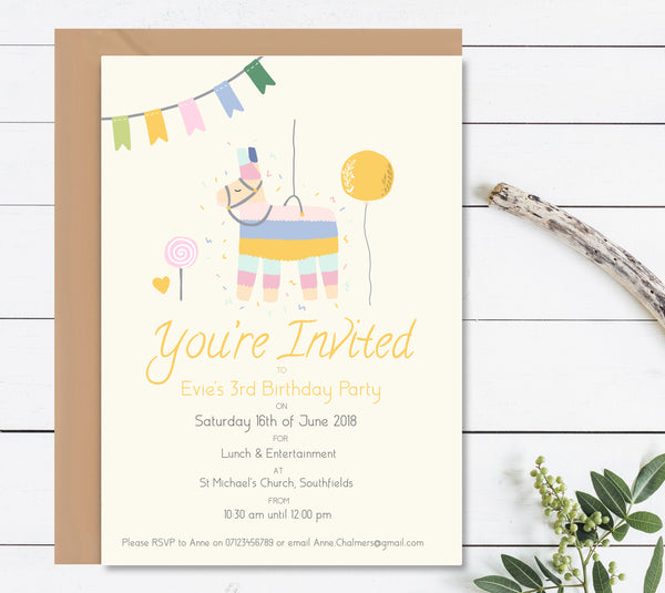 Llama Piñata Children's Birthday Invitation Set - Mode Prints