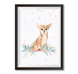 Chihuahua Love Floral Poster Print-Print-Mode Prints