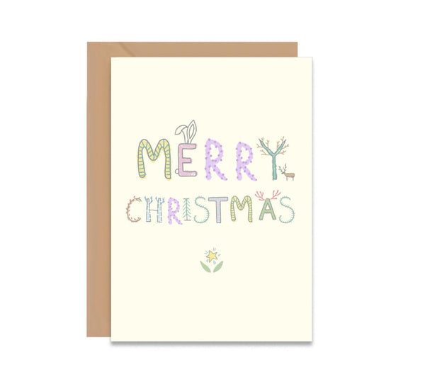 Merry Christmas Alphabet Blossom Greeting Card - Mode Prints
