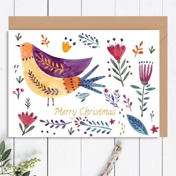 Merry Christmas Bird Greeting Card - Mode Prints