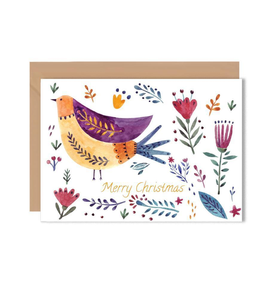 Merry Christmas Bird Greeting Card