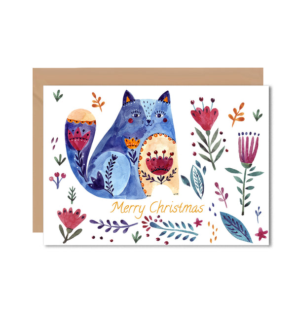 Christmas Cat Folk Greeting Card - Mode Prints