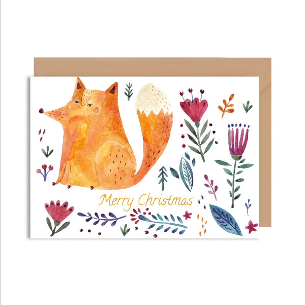 Merry Christmas Fox Greeting Card - Mode Prints