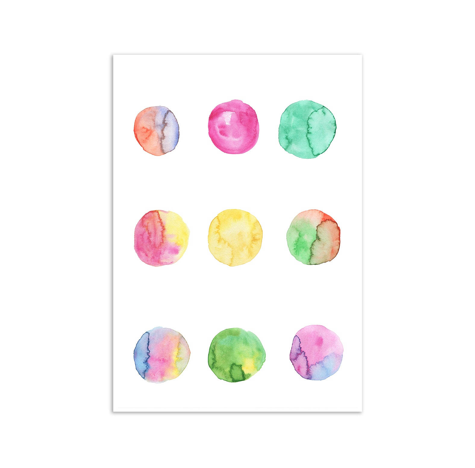 Watercolour Circles Art Poster Print