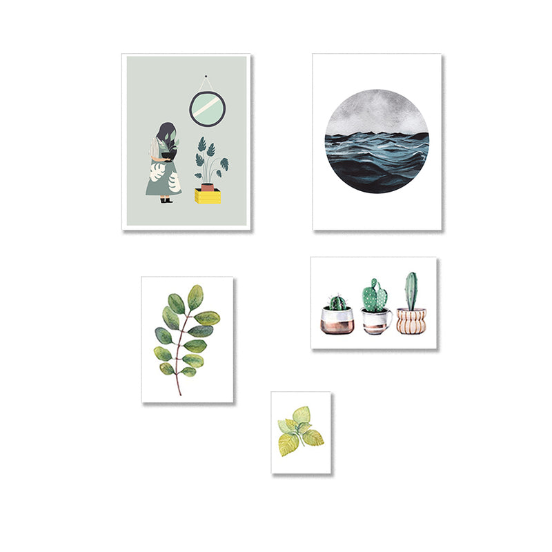 Set Of Five Botanical Leaf Art Prints Gallery Set