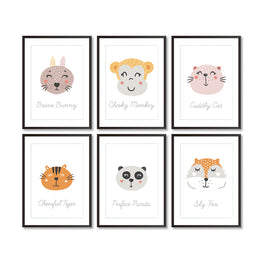 Set Of Six Animal Nursery Art Prints