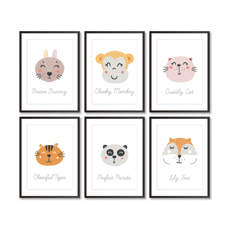 Set Of Six Animal Nursery Art Prints - Mode Prints