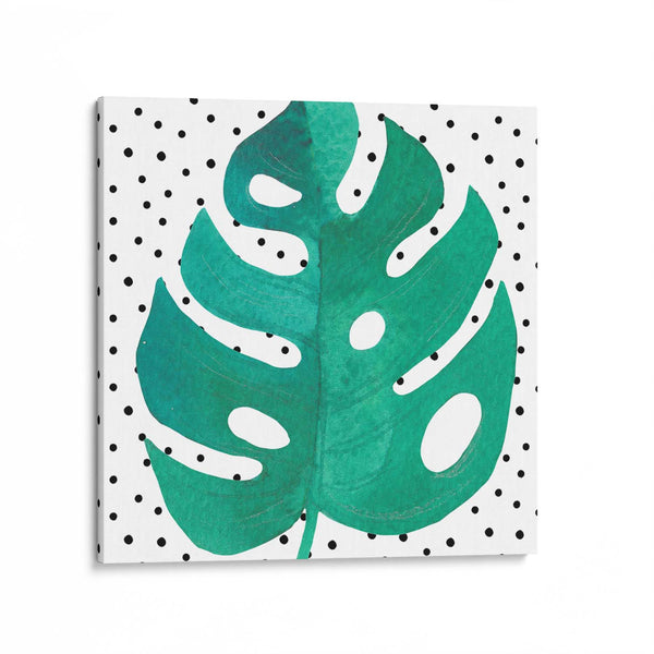 Monstera Leaf Polka Dot Canvas Art Print