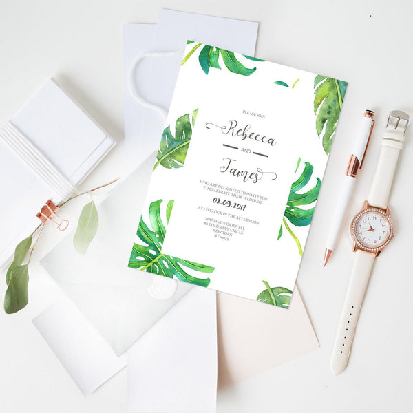 Monstera Wedding Invitation - Mode Prints