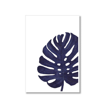 Navy Monstera Leaf Poster Print