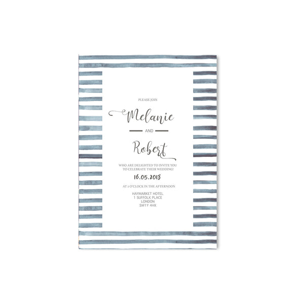 Navy Stripes Nautical Wedding Invitation - Mode Prints