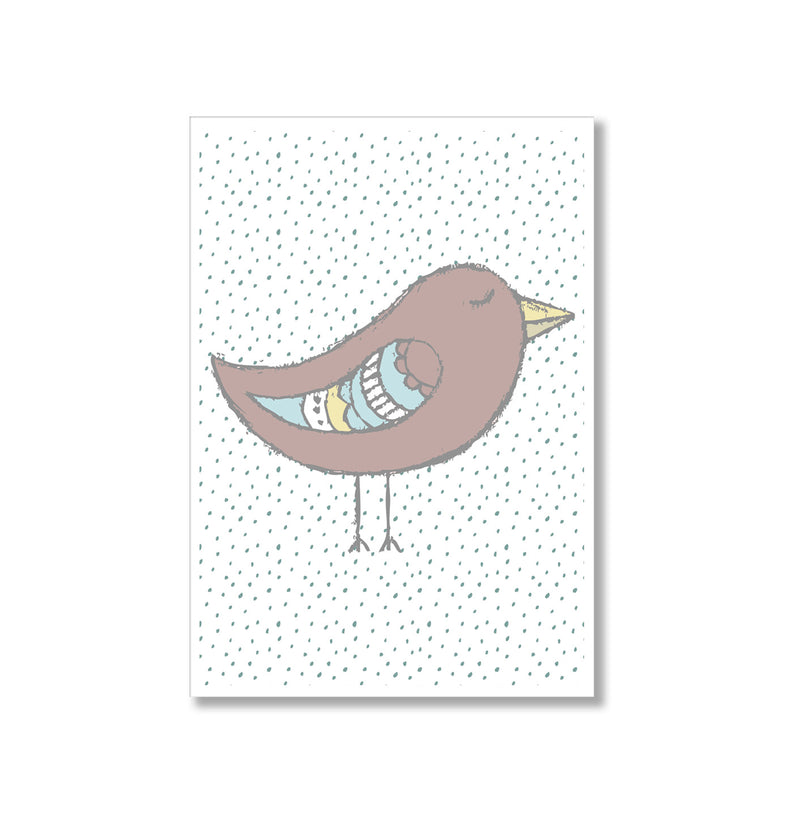 Neutral Brown Birdie Polka Dot Wall Art Print - Mode Prints