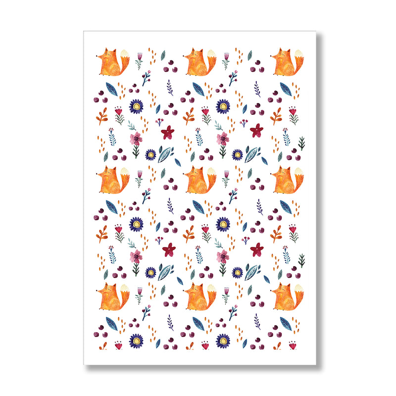 Nursery Fox Pattern Wall Art Print - Mode Prints