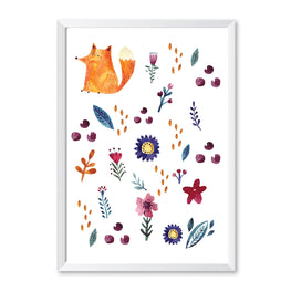 Nursery Fox Poster Print-Print-Mode Prints