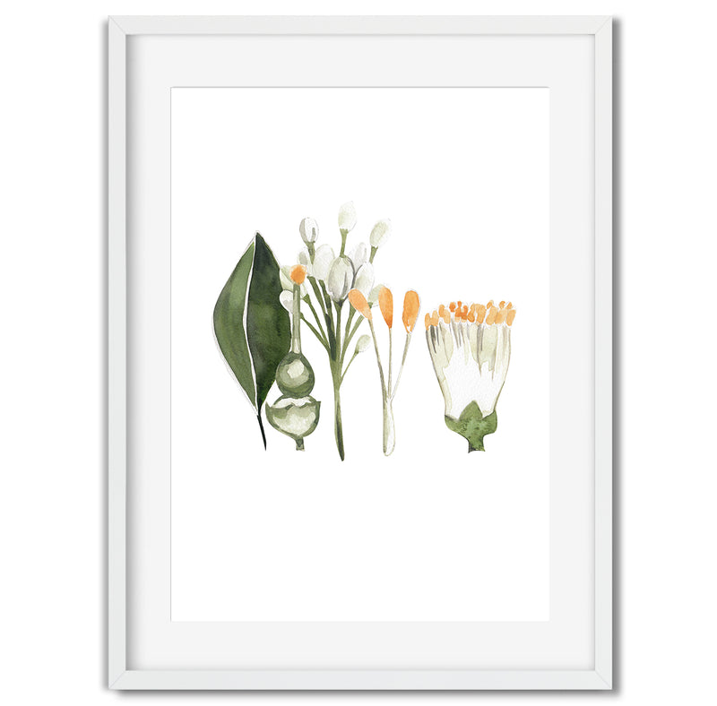 Watercolour Orange Leaves Wall Art Print
