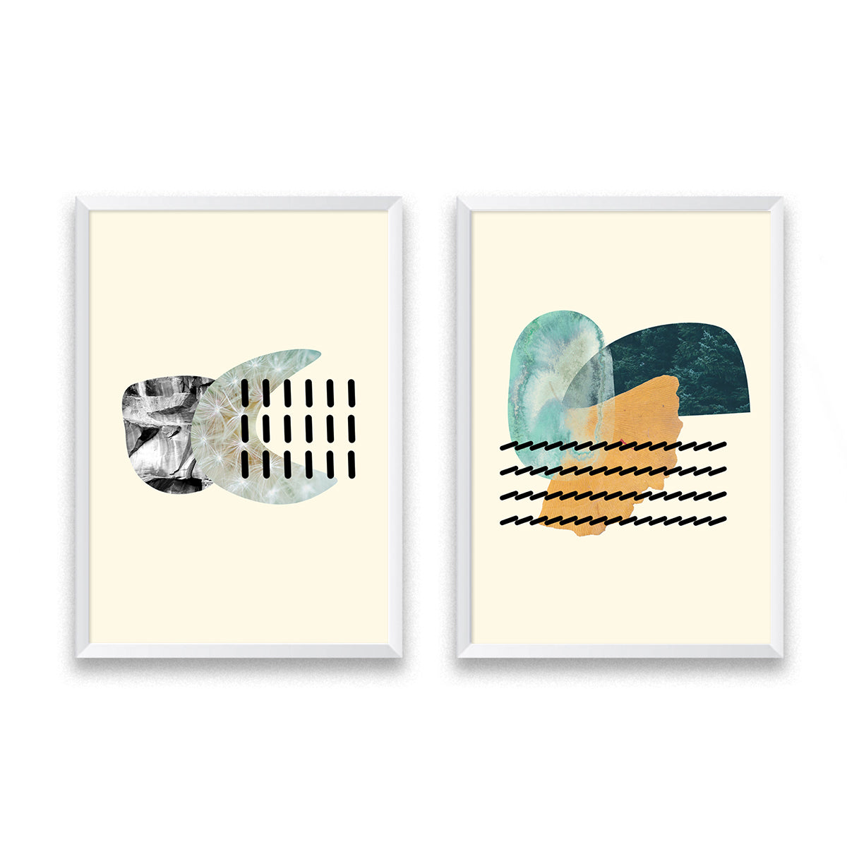 Organic Shapes Art Set Of Two Poster Prints