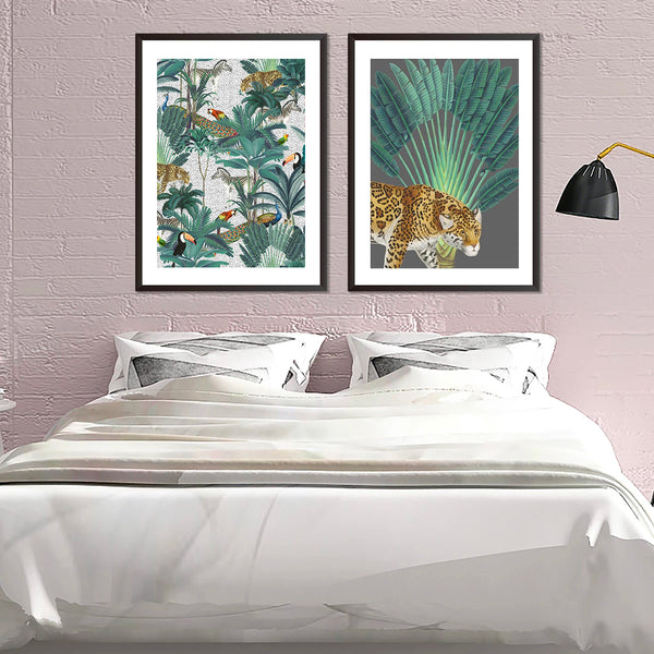 Tropical Jungle Watercolour Set Of Two Prints