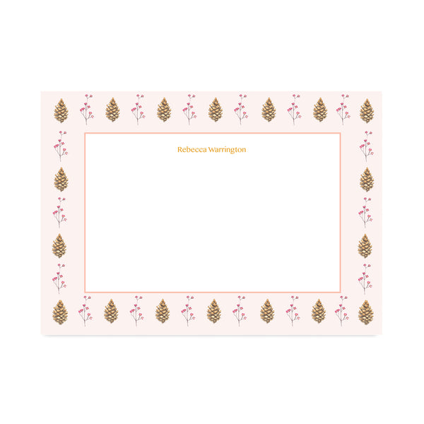 Personalised Autumn Pinecone Notepaper Set - Mode Prints
