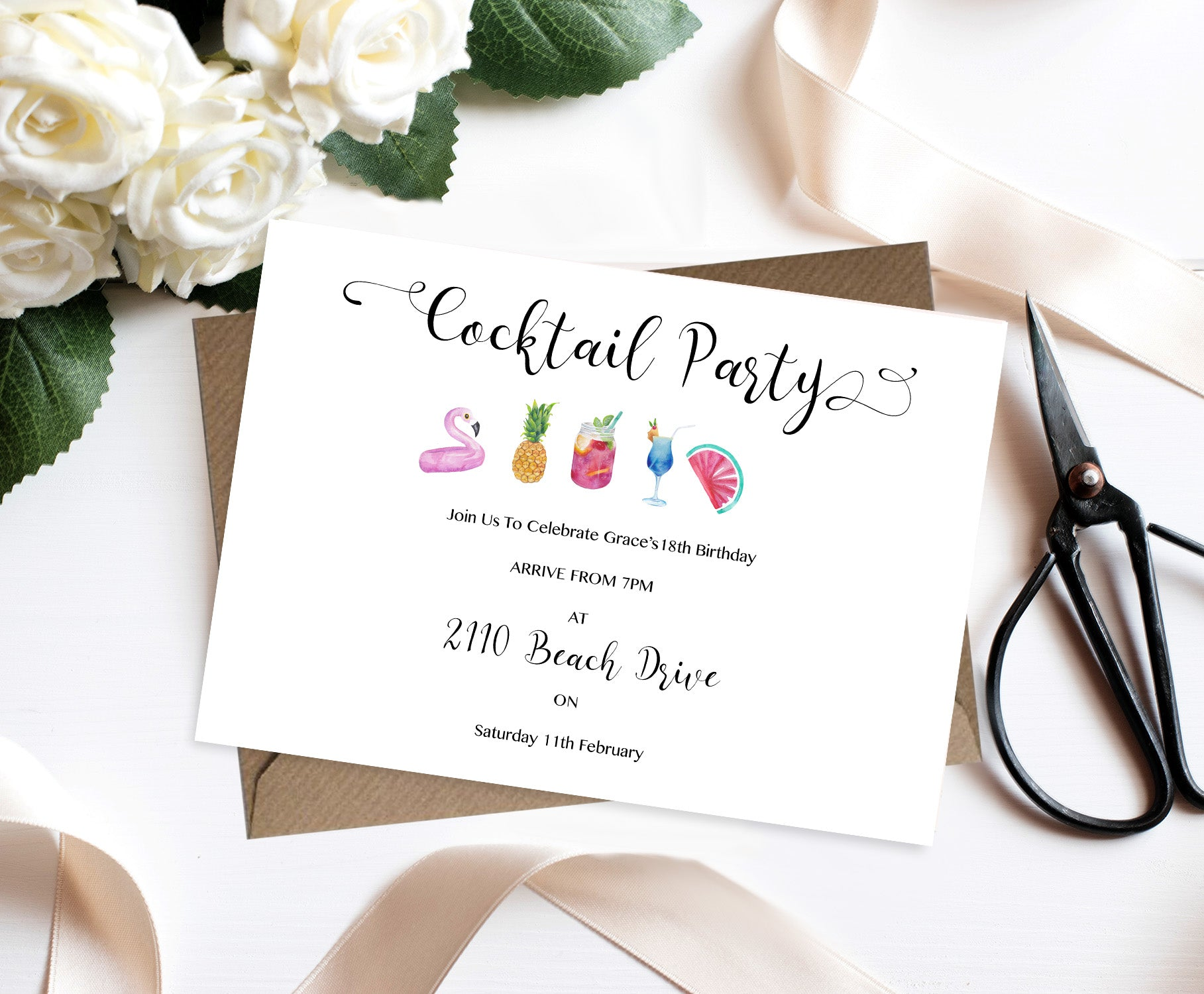 Beach Cocktail Party Invitation Set-Invitations-Mode Prints
