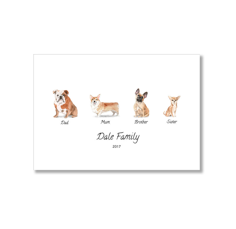 Personalised Dog Family Print - Mode Prints