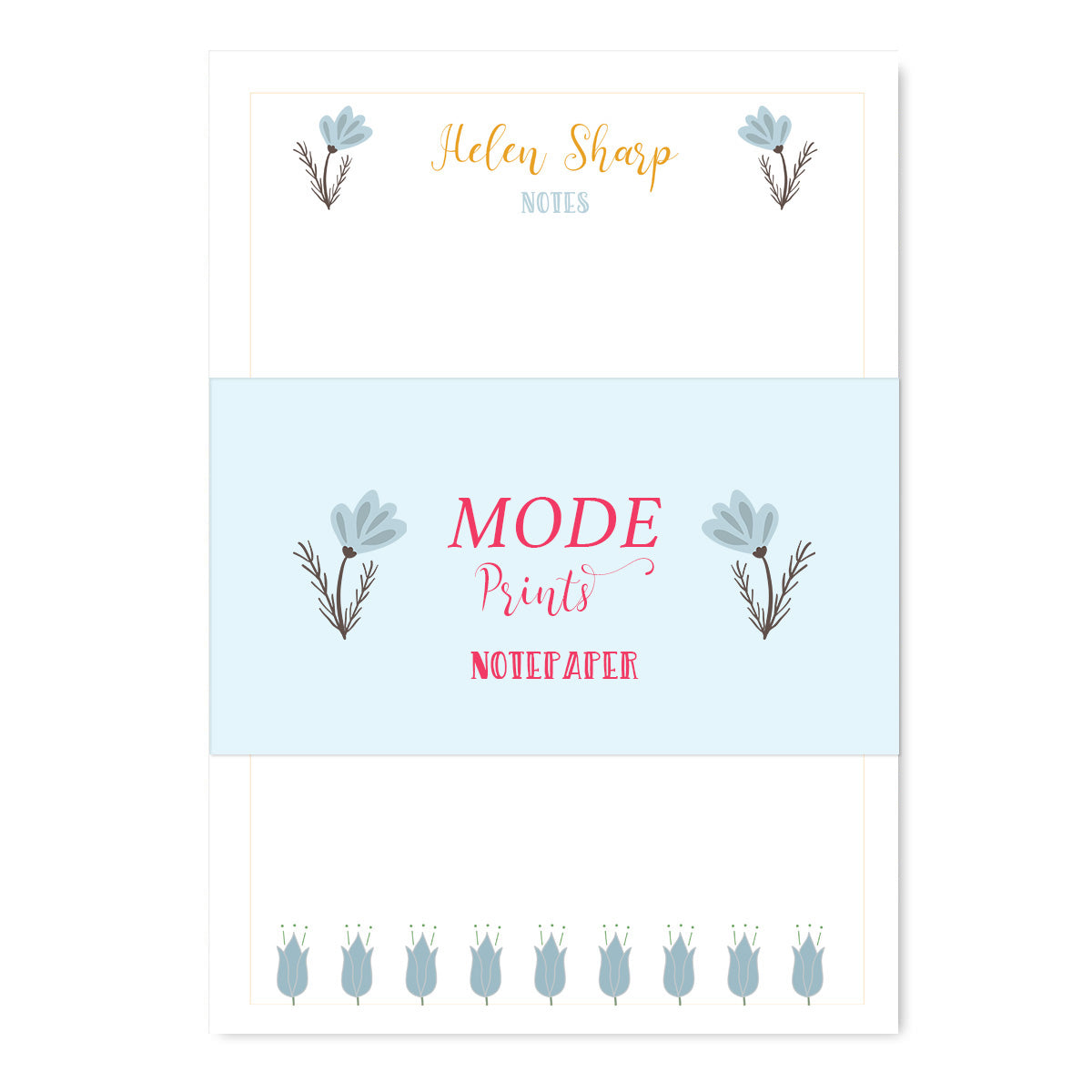 Personalised Duck Egg Floral Notepaper Set-Notepaper Sets-Mode Prints
